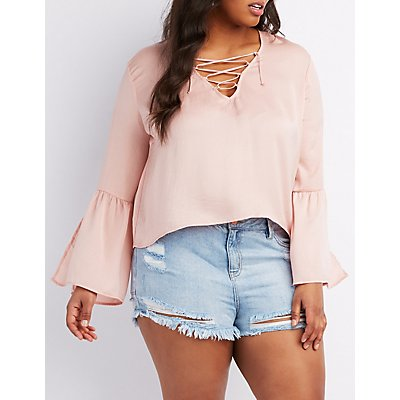 Plus Size Lace-Up Bell Sleeve Blouse