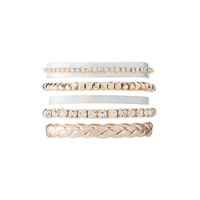 Crystal, Bead & Holographic Layering Bracelets - 5 Pack
