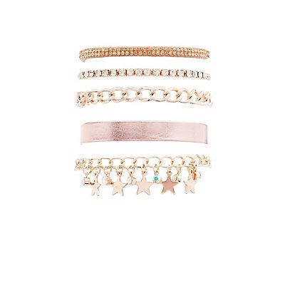 Rhinestone & Chainlink Layering Bracelets - 5 Pack