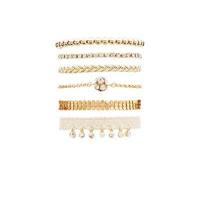 Rhinestone, Crochet & Chainlink Layering Bracelets - 6 Pack