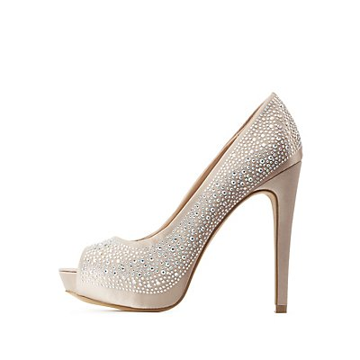 Rhinestone Embellished Peep Toe Pumps
