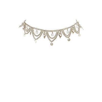 Scalloped Rhinestone Choker Necklace