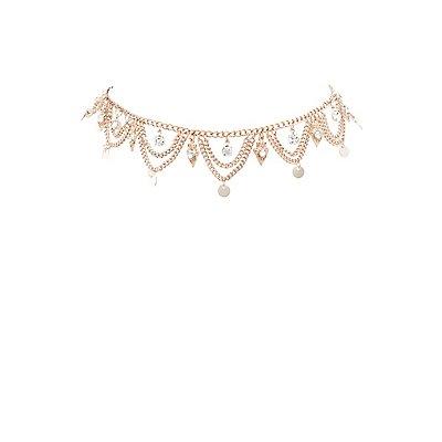 Scalloped Rhinestone Choker Necklace