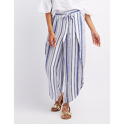 Striped Tied Wrap Palazzo Pants