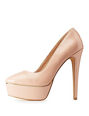 Gold-Trim Platform Pumps