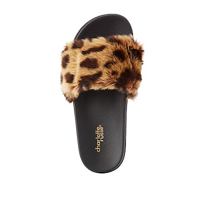 Leopard Faux Fur Slide Sandals