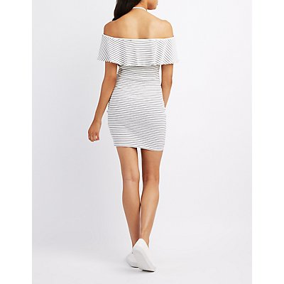Striped Halter Off-The-Shoulder Bodycon Dress