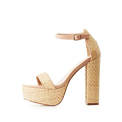 Straw Two-Piece Platform Sandals