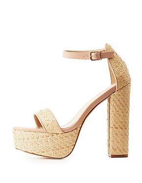 Straw Two-Piece Platform Sandals