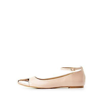 Metal-Trim Pointed Toe Flats