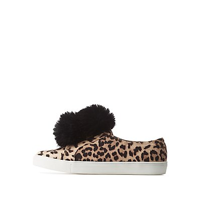 Leopard Pom Pom Slip-On Sneakers