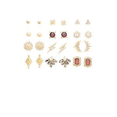 Embellished Stud Earrings - 12 Pack