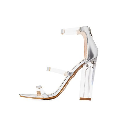 Bamboo Faux Leather & Clear Dress Sandals
