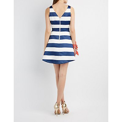 Striped Satin Skater Dress