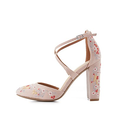 Floral Embroidered Crisscross Heels