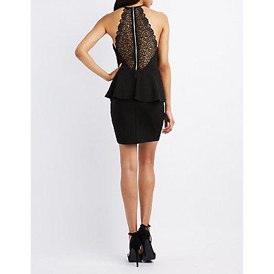 Lace-Back Peplum Dress