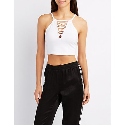 Lattice-Front Crop Top