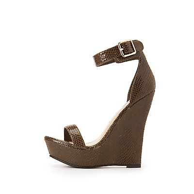 Faux Snakeskin Two-Piece Wedge Sandals