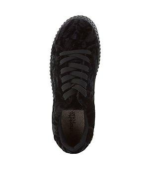 Velvet Flatform Creeper Sneakers