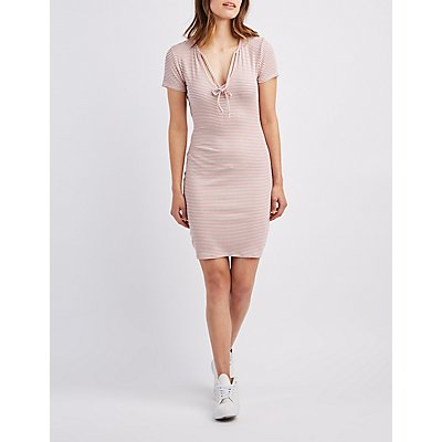 Ribbed Tie-Neck Bodycon Dress