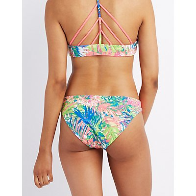 Printed Caged Bikini Bottoms
