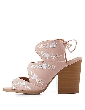 Embroidered Cut-Out Slingback Sandals