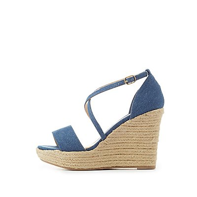 Denim Crisscross Espadrille Wedge Sandals