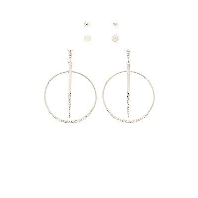 Embellished Hoop & Stud Earrings - 3 Pack