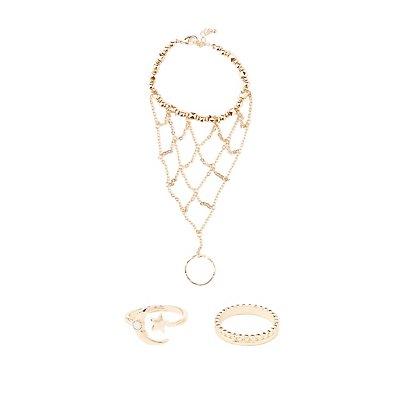Hand Chain & Celestial Rings Set