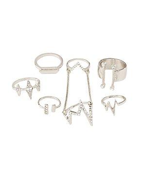 Embellished Stackable Rings - 6 Pack