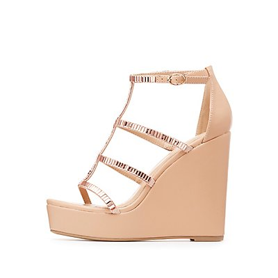 Embellished Caged Wedge Sandals