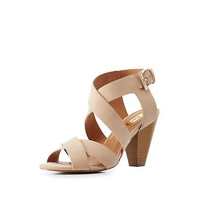 Qupid Strappy Cone Heel Sandals