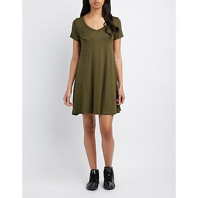V-Neck Pocket T-Shirt Dress
