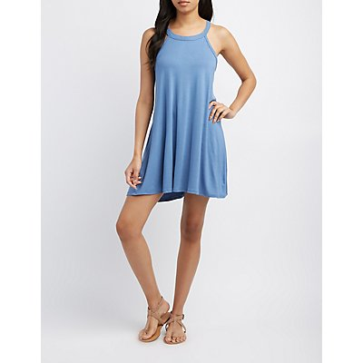 Bib Neck Keyhole Shift Dress