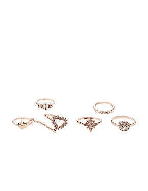 Embellished Chain & Stackable Rings - 5 Pack