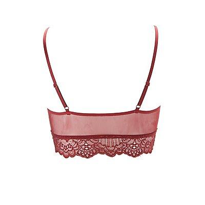 Plus Size Lace & Mesh Caged Bralette