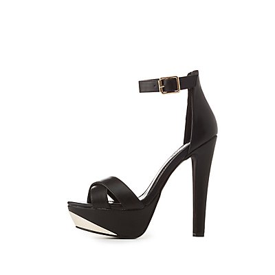 Gold-Trim Platform Sandals