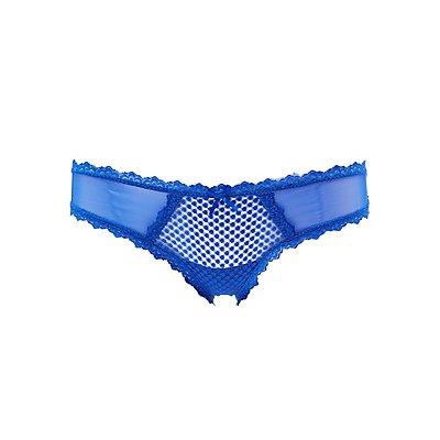 Sheer Mesh & Lace Thong Panties