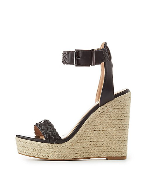 7ed7a8ea226 Braided Two-Piece Espadrille Wedge Sandals | Charlotte Russe