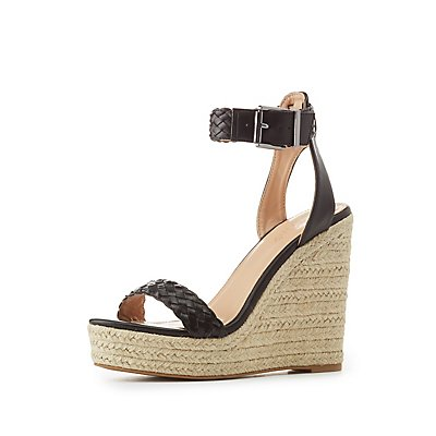 Braided Two-Piece Espadrille Wedge Sandals