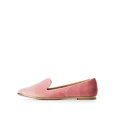 Velvet Gold-Trim Loafers