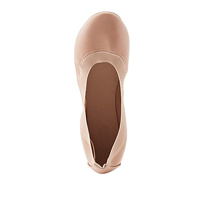 Faux Leather Stretch Ballet Flats