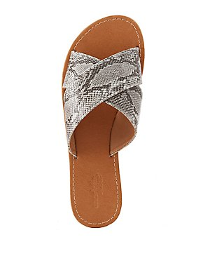 Faux Snakeskin Crisscross Slide Sandals