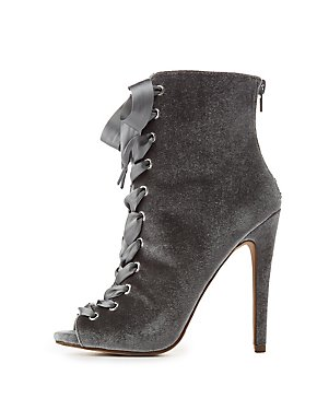 Velvet Lace-Up Ankle Booties