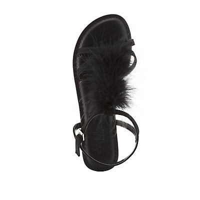 Feather T-Strap Sandals
