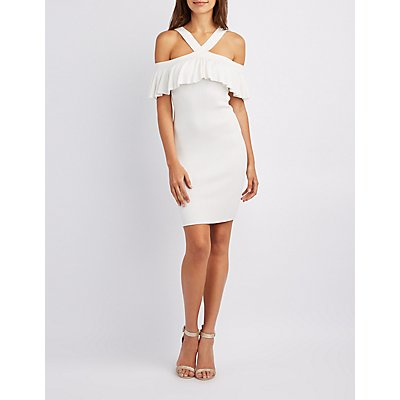 Ribbed Ruffle Cold Shoulder Bodycon Dress