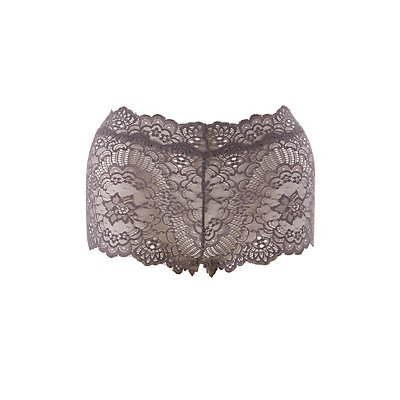 Plus Size Floral Scalloped Cheeky Panties