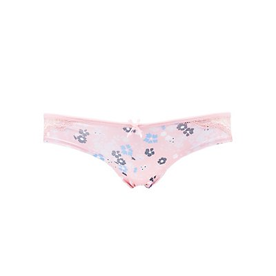 Floral Lace-Back Cheeky Panties