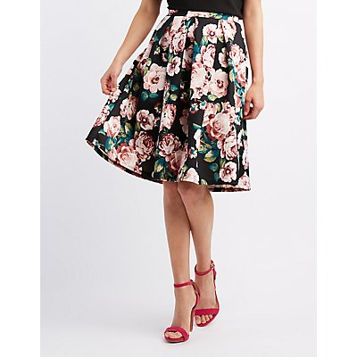 Floral Pleated Midi Skirt