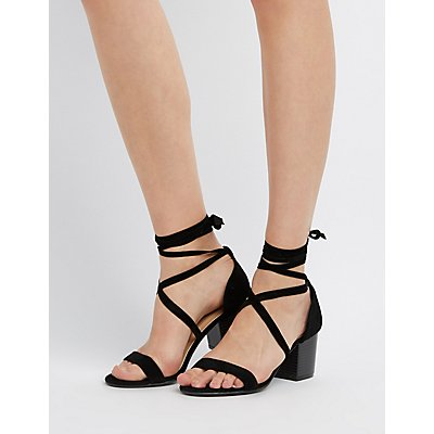 Bamboo Lace-Up Two-Piece Sandals